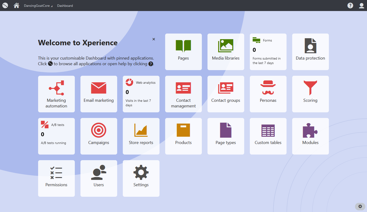 Kentico Xperience 13 dashboard